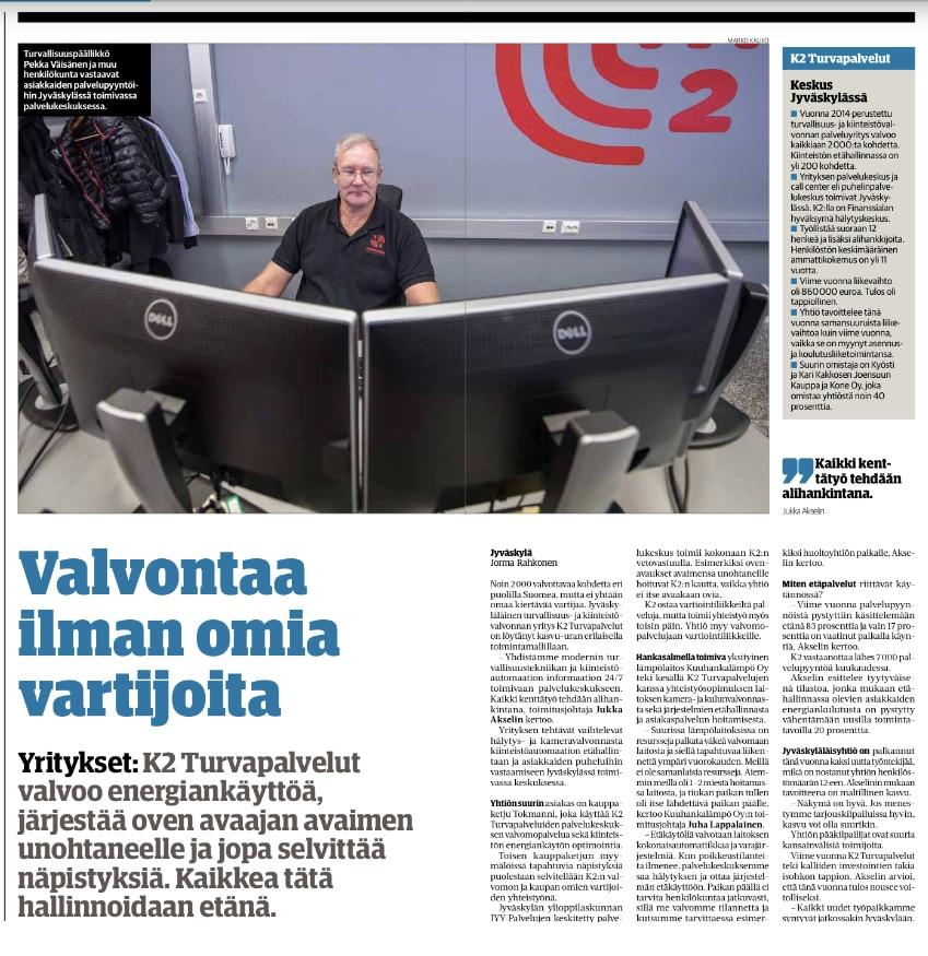 K2 Turvapalvelut valvoo yli 2000:ta kohdetta eri puolilla Suomea