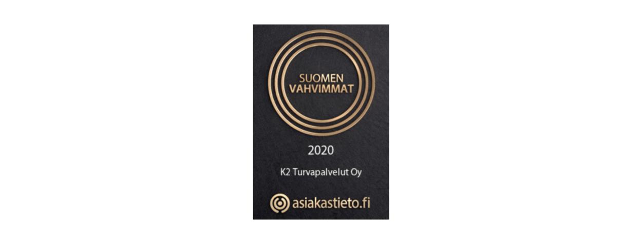 K2 Turvapalveluille on myönnetty Suomen Vahvimmat -sertifikaatti